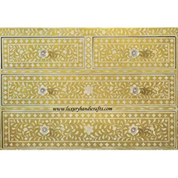 Luxury Handicrafts Bone Inlay Floral Chest of Four Drawers (Yellow)