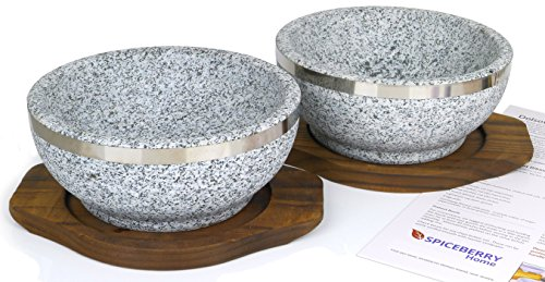 Spiceberry Home Granite Stone Dolsot Bibimbap Bowls, 32-Oz (Large Personal Size), Set of 2 by Spiceberry Home