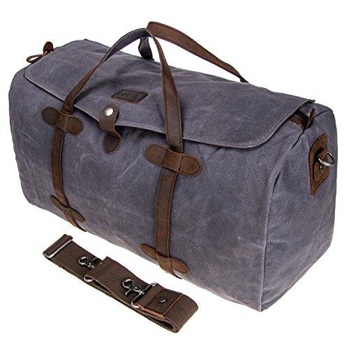 HIKA Waxed Canvas Leather Trim Weekend Bag Men Women Gym Duffel bag Travel Shoulder Handbag-Grey