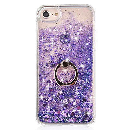 iPhone 7 Case Crystal Clear Quicksand Liquid - JAZ Finger Ring Stand Ultra Thin Soft Transparent Plastic Floating Luxury Bling Glitter Sparkle Diamond Case for iPhone 7 /iphone 8 (Heart Purple)