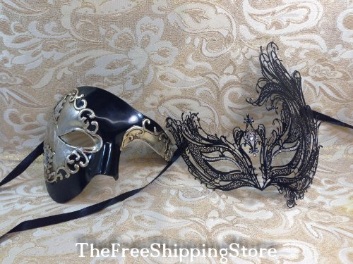Black Masquerade Couple Masks Special Edition 12