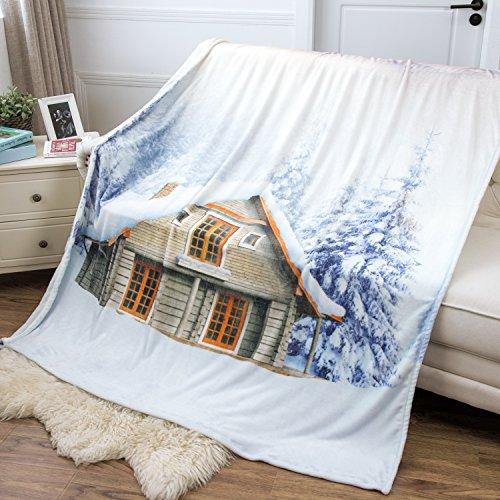 Bedsure Swiss Chalet in Winter Flannel Fleece Throw Blanket