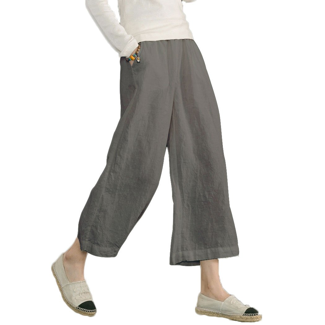 Ecupper Women's Elastic Waist Causal Loose Trousers Plus 100 Linen Cropped Wide Leg Pants, Grey, US(18W-20W)=Tag 5XL