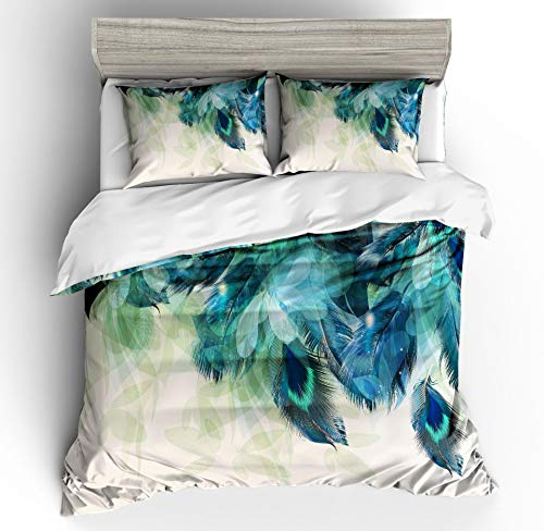 Erosebridal Peacock Decor Duvet Cover Set Kids Full Cute Animal Theme Bedding Set Print for Adult Teen Boys and Girls Decorative Bedding Animal Soft Comforter/Quilt Cover Peacock Feathers Bed Cover F
