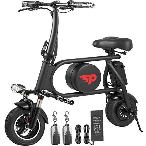 Macticy Foldable Electric Bike 400W Folding Electric Bicycle 36V E-Bike 16AH Scooter (Black)