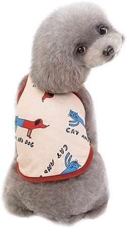 ARTFFEL Transpirable Camisa del Desgaste del Chaleco del Perro pequeño Perrito Perro Pet Ropa for Perros de algodón Chaleco de algodón de Primavera y Verano Camiseta for Perros Elástico: Amazon.es: Hogar