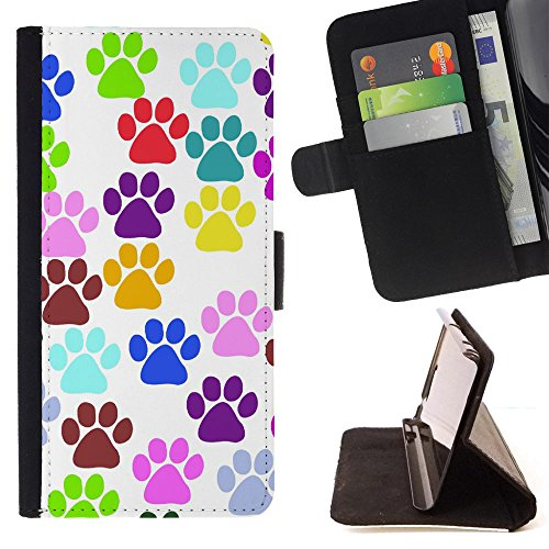 Prints Paw Wallet (FJCases Paws Print Animal Slim Wallet Card Holder Flip Leather Case Cover for Samsung Galaxy S6 Active)