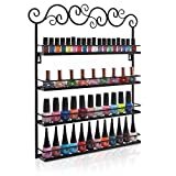 Black Metal Wall Mounted 4 Shelf Nail Salon Polish Rack / Makeup Cosmetics Storage Organizer Shelves