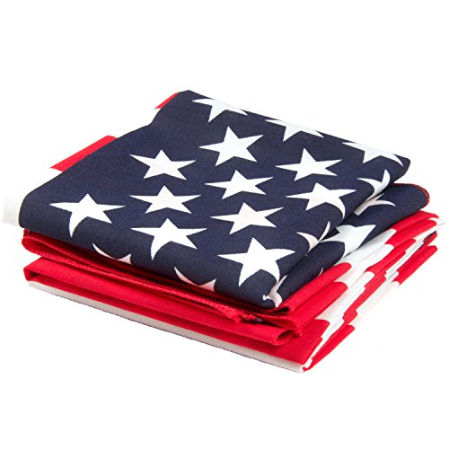 OHSAY USA American Flag Bandana 3-Pack - Made in USA for 70 Years - Sold by Vets - Sewn Edges]()