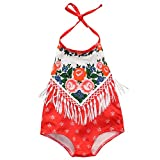cool costume for kids - Newborn Baby Girls Ethnic Flower Printing Tassels Backless Halter Romper Sunsuit (0-6months, Red)