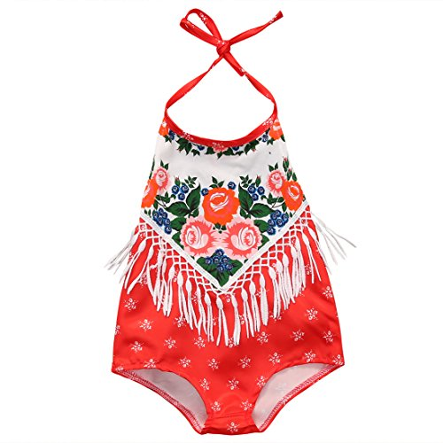 Ethnic Costumes (Newborn Baby Girls Ethnic Flower Printing Tassels Backless Halter Romper Sunsuit (12-18months,)