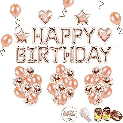 iZoeL Cumpleaños Globo Oro Rosa Guirnalda de Globos Happy Birthday, 36 Globos, 15 Globus de Confeti, 2 Globo Foil Estrella Corazon