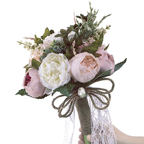 PARTY JOY Rustic Wedding Bouquet Peony Bridesmaid Bouquet Artificial Holding Flowers for Wedding (Pink) (Wedding Peony Bouquet)