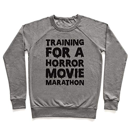 LookHUMAN Training for A Horror Movie Marathon XL Heathered Gray Unisex Crewneck Sweatshirt -