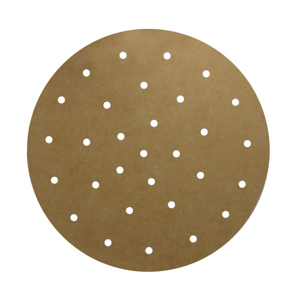 """Unbleached Air Fryer liner, Set of 100, 9 Inch Unbleached Perforated Parchment Paper/Bamboo Steamer Liner/Round Parchment Paper for Air Fryer, Steaming Basket and More (6""""7""""8""""10""""Available)"""