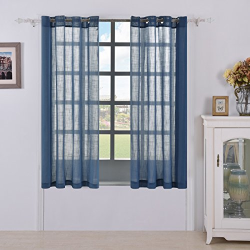 Best Dreamcity Faux Linen Sheer Curtains Grommet Top for Living Room, 1 Pair, W52