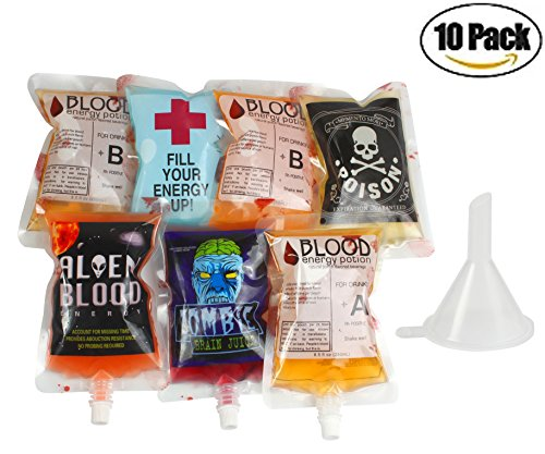 Halloween Blood Bag for Drinks -10 Pack 5 patterns with Funnel Reusable Novelty Item Nozzle Pocket Blood Bag Drink Container for Theme Parties,Halloween Party Cups (10 pack+1 (Drink Halloween Party)