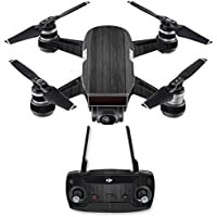 Skin for DJI Spark Mini Drone Combo - Black Wood| MightySkins Protective, Durable, and Unique Vinyl Decal wrap cover | Easy To Apply, Remove, and Change Styles | Made in the USA
