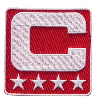 Red Captain C Patch Iron On for Jersey Football, Baseball. Soccer, Hockey, Lacrosse, Basketball ()