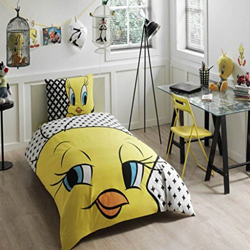 Looney Tunes - Tweety Stars 3 Pcs Twin / Single Size %100 Cotton Duvet Cover Set Bedding Linens