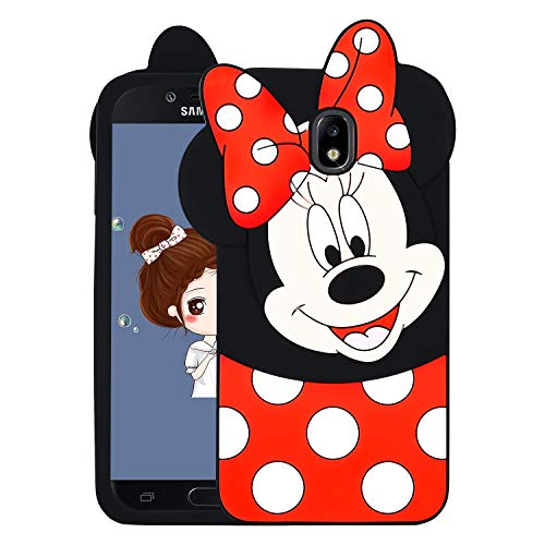 Allsky Case for Samsung Galaxy J3 2018/J3 V 3rd/Express Prime 3/Achieve/J3 Star,Cartoon Soft Silicone Cute 3D Cool Cover,Kawaii Unique Kids Girls Teens Animal Character Cases for J3 2018 Minnie Mouse (Star Disney)