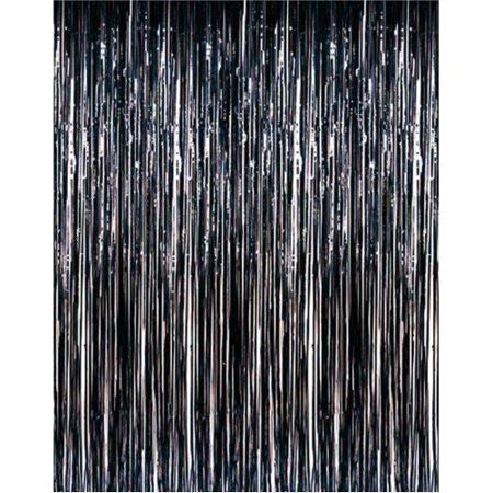 Tytroy Black Shimmer Door Curtains Metallic Tinsel Fringe Backdrop 3'x8' (1 pc)]()
