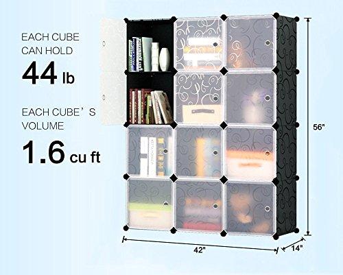KOUSI Storage Cube Cube Organizer Cube Storage Shelves Cube Shelf Room Organizer Clothes Storage Cubby Shelving Bookshelf Toy Organizer Cabinet, Black with Doors,12 Cubes Storage by KOUSI (Image #3)