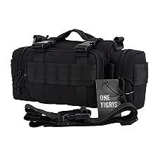 OneTigris Outdoor Men Military Duffle Assault Combined Backpack Rucksacks Sport Molle Camping Travel Hiking Trekking Bag (Black)