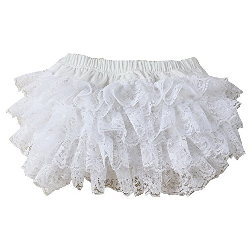 Wennikids Ruffled Lace Baby Diaper Bloomer Covers for 0-24M Large White
