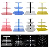 Cupcake Stand,4 Tiered Round Clear Acrylic Plastic