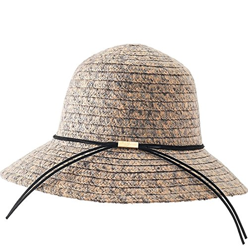 YUUVE Women's Wool Felt Fedora Hat Wide Brim Floppy Hat Scrunchy Winter Bowler (Flat Brim Wool Felt Hat)