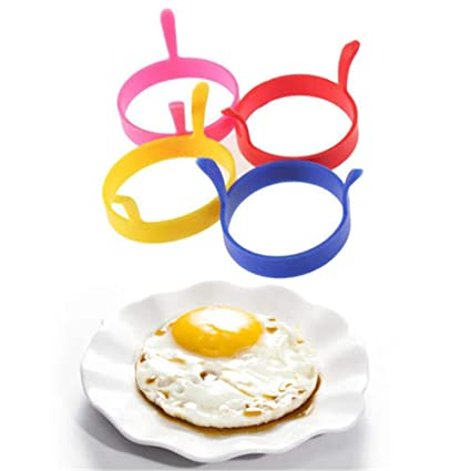 Amazon.com: Heart Shaped Pancake Mold - Moldes Para Pancakes - 8cm Silicone Fried Egg Breakfast Frying Pan Oven Kitchen Pancake Fried Egg Round Shaper Eggs ...