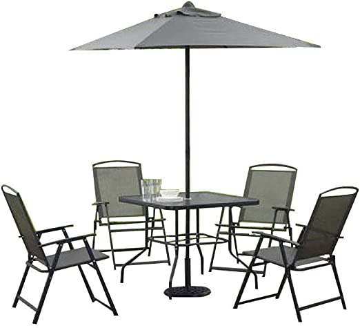 Mainstays Albany Lane – Juego de Comedor Plegable (Incluye Mesa de Comedor, sillas Plegables y Paraguas), Gris: Amazon.es: Jardín