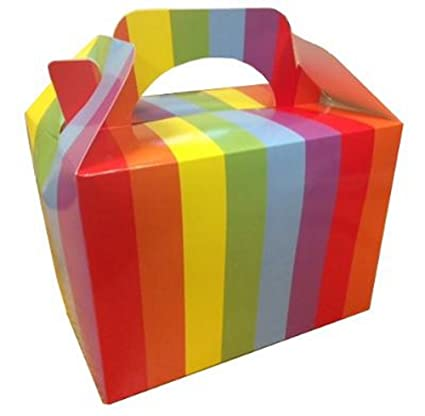 10 X Rainbow Birthday Food Meal Loot Party Boxes Gift Favour Box Mbb