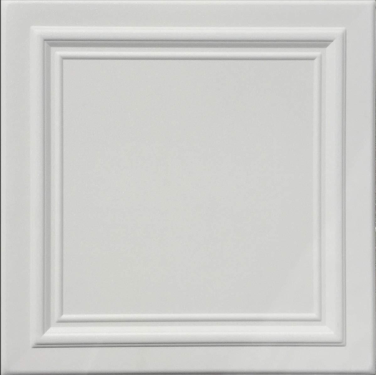 Zeta White (Foam) Ceiling Tile - 100pc Box - Decorative Ceiling Tile Easy Glue up DIY by Antique Ceilings (Image #1)
