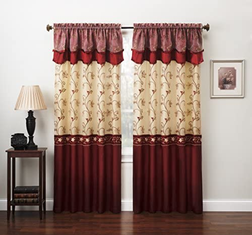 Fancy Collection Embroidery Curtain Set 2 Panel Drapes with Backing Valance 110 x 84 , Burgundy