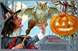 "Vintage Halloween Poster Made From Circa 1910 Postcard Precautions White Owl Ink Pumpkin 18""x24"""