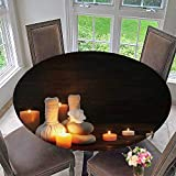 PINAFORE HOME Round Tablecloth spa Composition with Alight Candles on Wooden Background in The for Kitchen 40''-43.5'' Round (Elastic Edge)