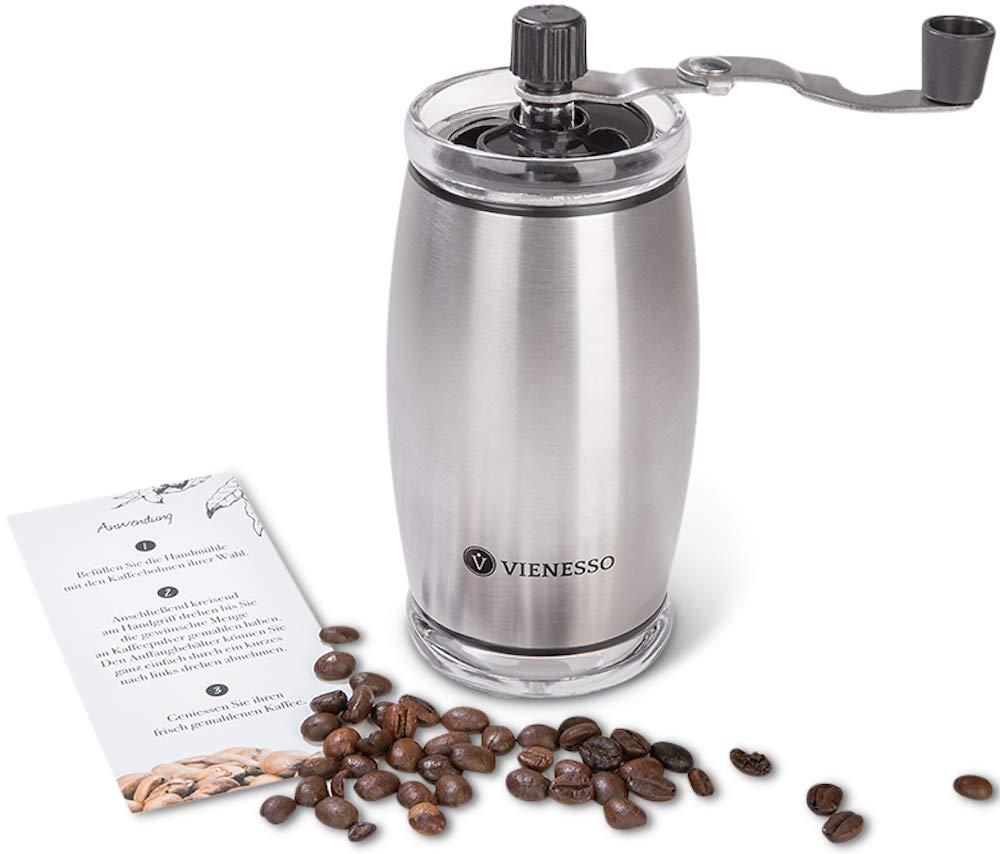 VIENESSO Handkaffeemü hle mit Keramikmahlwerk - manuelle Espressomü hle und stufenlose Mahlgradeinstellung, besonders leicht mit 35g Fü llmenge, umweltfreundlich + robust + langlebig + E-Book! (Silber)