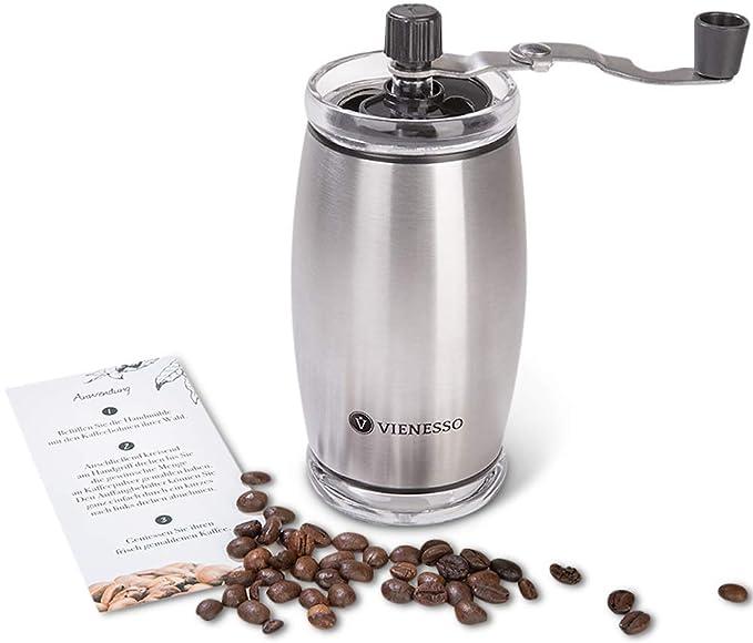 VIENESSO Hand-Kaffeemühle mit Keramikmahlwerk - manuelle Espressomühle und stufenlose Mahlgradeinstellung, besonders leicht m