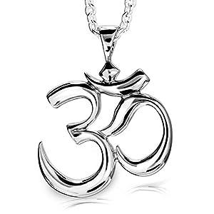 """925 Sterling Silver Hindu Meditation Yoga """"Om"""" Aum Pendant"""