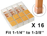 Square Chair Leg Caps for Hardwood Floors Chair Leg Hardwood Floor Protectors with Felt Mat Furniture Table Leg Glides Feet Caps Fit Square Length 1-1/4 to 1-3/8 inch (3.2-3.6cm) 16 Pack