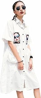 WLM Camicia di Studentessa Selvaggia Allentata Camicia Bianca di Stile di Hong Kong del Fumetto di Estate,Bianca,Taglia Unica