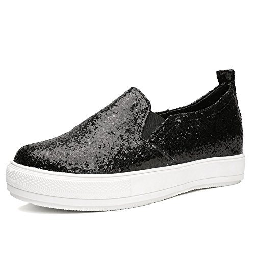 Odema Damen Sequined Lassige Schuhe Slip-on Loafers Black