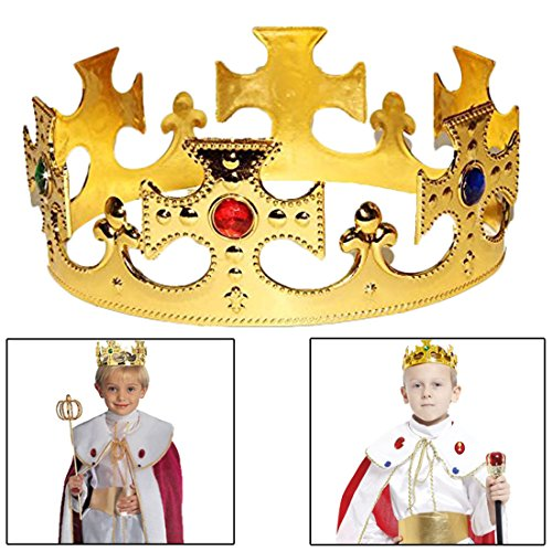 [Royal Kings Crown Set of 2 - Gold Jeweled Regal Crowns Costume Accessory Party Favor 2 Pack for Birthday | BBQ | Graduation | Dress up | Pretend Play] (King Triton Costume Accessories)