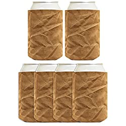 Funny Coolie Brown Paper Bag Gag Gift Coolies 6 Pack Can Drink Coolers Multi