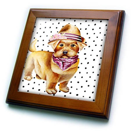 3dRose Uta Naumann Watercolor Illustration Animal - Cute Funny Dog Illustration on Polkadots- Bishon-Terrier - 8x8 Framed Tile (ft_275110_1) -