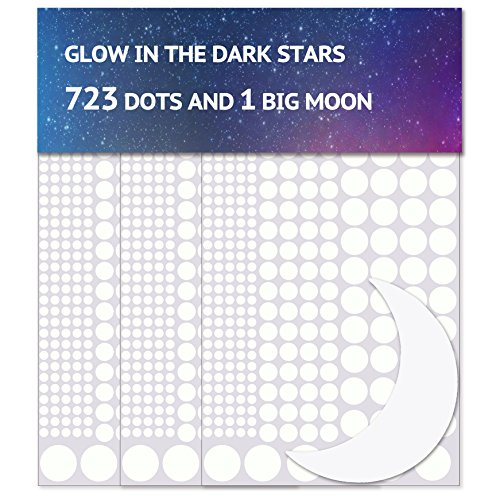 Airbin Glow in The Dark Stars Wall Stickers, 730 pcs Dots and Moon for The Galaxy, Gifts for Kids Bedding Room or Birthday, Wall Decals, Lighten The Love of Your Heart by Airbin (Image #3)