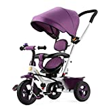 Trikes Children's Tricycle 1-3-5 Years Old Baby Car Infant Trolley Bicycle Kids Baby Bike (Color : Purple)
