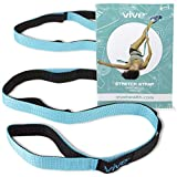 Vive Stretch Strap - Leg Stretch Band to Improve Flexibility - Stretching Out Yoga Strap - Exercise and Physical Therapy Belt for Rehab, Pilates, Dance and Gymnastics with Workout Guide Book